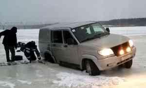 Ещё не открытую ледовую переправу сегодня разрушил автолюбитель-экстремал