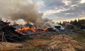 «Израсходовали порядка 700 кубометров воды»: вПлесецком районе целый день тушили свалку опилок и горбыля