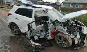 ВУстьянском районе перевернулся Hyundai. Водитель был пьян, пассажир— непристёгнут