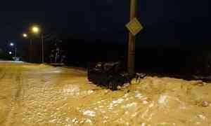 В Архангельске пьяный водитель въехал в фонарный столб
