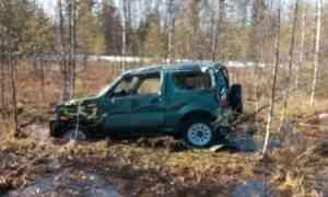 Натрассе М8 автомобиль вылетел вкювет, водитель пострадал