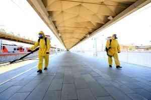 Специалисты Центра «Лидер» провели дезинфекцию Ленинградского вокзала в Москве