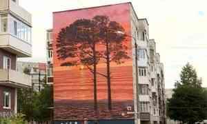 Еще один фасад дома в Северодвинске превратился в произведение искусства