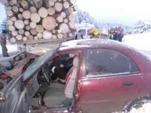 У посёлка Вычегодский два человека пострадали в аварии с лесовозом