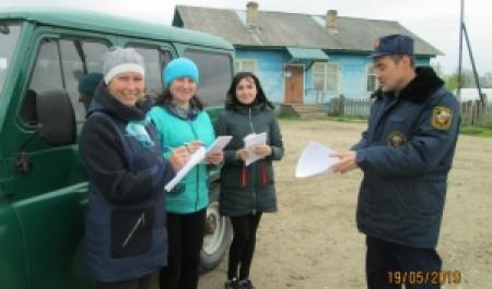 В Котласском районе добровольцы принимают участие в противопожарной профилактике
