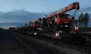 Станцию Шиес покинул первый поезд со строительной техникой