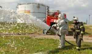 Крупный пожар на нефтебазе ликвидирован: под Архангельском прошли учения пожарных