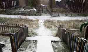 В Поморье первый снег выпал на месяц раньше привычного срока