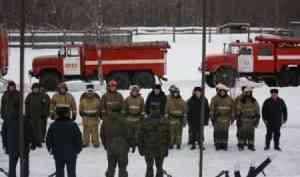 Пожар на складе боеприпасов: под Архангельском прошли учения пожарных