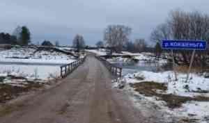 В Вельском районе приостановлено движение по мосту через реку Кокшеньга