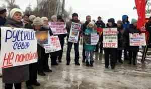 Около 200 вельчан вышли на массовый пикет против полигона на станции Шиес