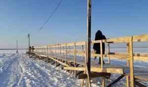 В Архангельске открыли ещё три пешеходные ледовые переправы