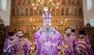 Митрополит Корнилий в третью великопостную родительскую субботу совершил Литургию в Лявле под Архангельском
