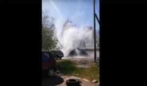 Архангелогородцы делятся фото водяных гейзеров во время гидравлических испытаний
