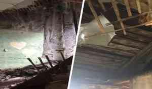 «Люди будут там ночевать»: в коммунальной квартире в Архангельске обвалился потолок. Фото