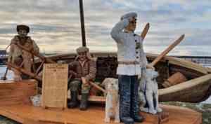 Фотофакт: на Красной Пристани появилась скульптура «Полярник Седов и собаки»