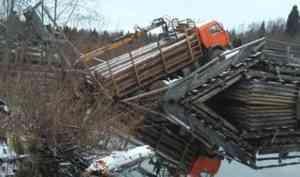 В Шенкурском районе под колесами лесовоза обвалился деревянный мост