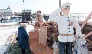 Скульптурная группа «Экспедиция Георгия Седова» заняла место шхуны «Запад» вАрхангельске
