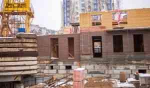 На ЖК «Фамилия» в Архангельске приступили к кирпичной кладке стен 2-го этажа