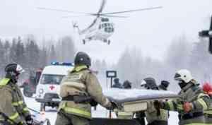В Холмогорском районе спасатели отработали навыки ликвидации последствий ДТП