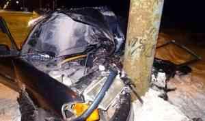 В Архангельске пьяный водитель врезался в столб
