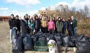 Северодвинские волонтёры собрали на берегу Театрального озера 28 мешков мусора