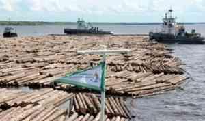 На АЦБК и «Лесозавод 25» на плотах доставлены первые партии леса