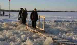 в Архангельской области действуют шесть ледовых переправ