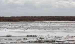 Ночью разрушился затор льда на Северной Двине в селе Нижняя Тойма